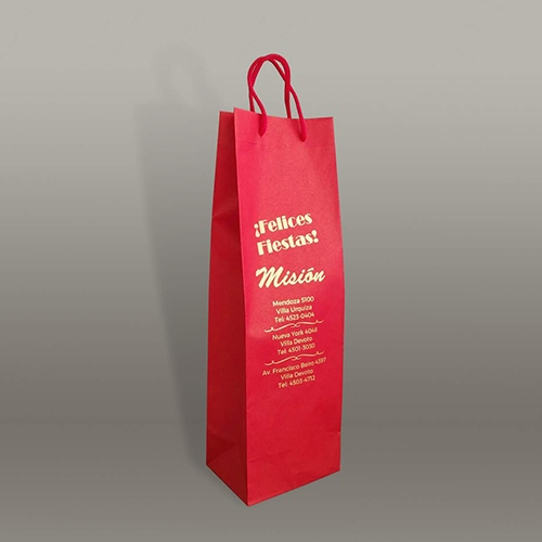 bolsa impresa cartulina con manija para botella