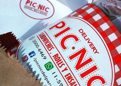 bolsa papel craft faja para sandiwiches servilleta papel tissue impresa con logo pic nic